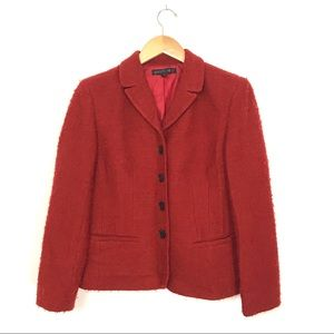 Lafayette 148 Rust Orange Red Textured Blazer A7